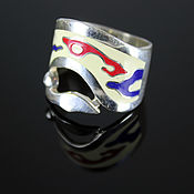 Украшения handmade. Livemaster - original item Fantasy ring in 925 sterling silver with enamel. Handmade.