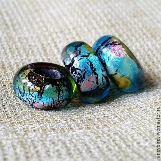 """Бусины пандора ручной работы. Ярмарка Мастеров - ручная работа. Купить """"Тайна голубой планеты"""" бусины-шармы для браслета пандора. Handmade."""