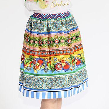Работы для детей, ручной работы. Ярмарка Мастеров - ручная работа Разноцветная юбка для девочки из хлопка Дольче Габбана. Handmade.