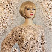 Одежда handmade. Livemaster - original item Crocheted beige blouse.. Handmade.
