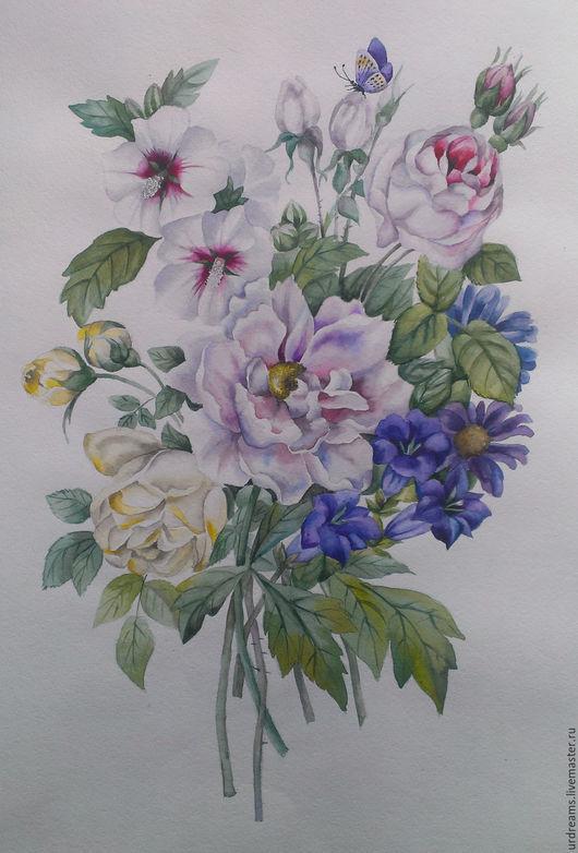 Картины цветов ручной работы. Ярмарка Мастеров - ручная работа. Купить Белое и синее. Handmade. Комбинированный, роза