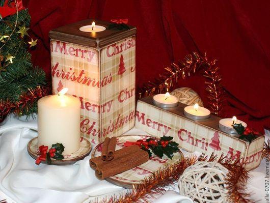Комплекты аксессуаров ручной работы. Ярмарка Мастеров - ручная работа. Купить Праздничный набор. Handmade. Декупаж, рождественский подарок