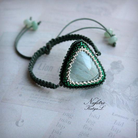 Браслеты ручной работы. Ярмарка Мастеров - ручная работа. Купить Браслет-амулет, браслет с яшмой, браслет с зеленым камнем. Handmade.