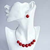 Украшения handmade. Livemaster - original item Natural coral 925 sterling silver earrings and necklace-choker