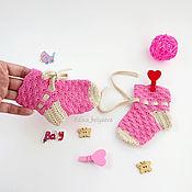 Работы для детей, ручной работы. Ярмарка Мастеров - ручная работа носочки для новорожденного носки детские вязаные, розовый. Handmade.