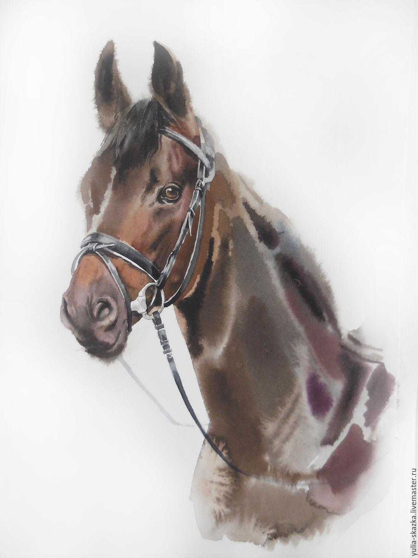 """Животные ручной работы. Ярмарка Мастеров - ручная работа. Купить Акварель """" Конь Красавчик"""". Handmade. Лошадь, конь"""