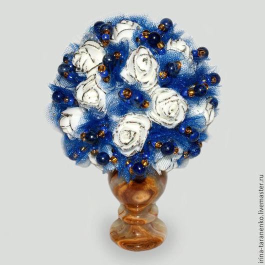 Цветы из лазурита `Грезы любви`