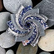 Украшения handmade. Livemaster - original item Brooch made of polymer clay Spiral star. Frost. Handmade.