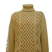 Ritaknitsall.  Мужской свитер с аранами ручная работа.  Hand Knitted Mens Sweater Cardigan in Beige - Size L - Cable...