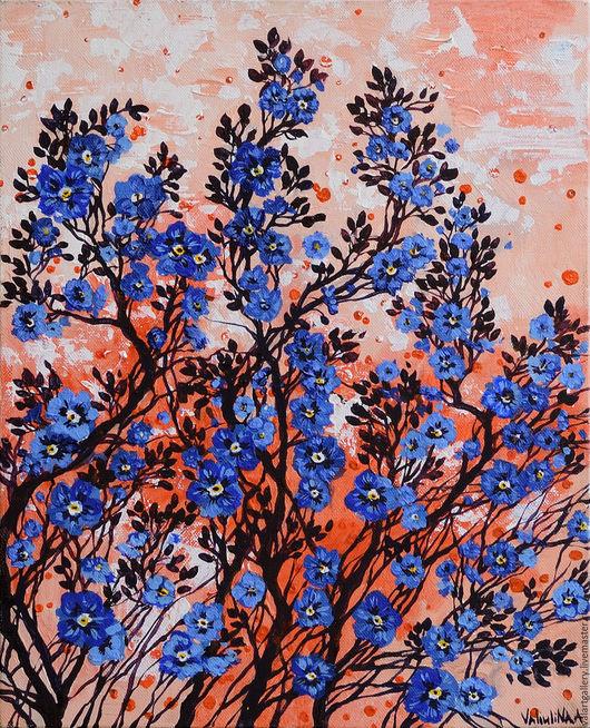 Картины цветов ручной работы. Ярмарка Мастеров - ручная работа. Купить Голубые цветы. Handmade. Синий, цветы поле, белый