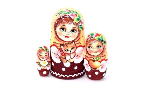 Матрешка Оля с кошечкой 3м 11см, Народная кукла, Шатура,  Фото №1