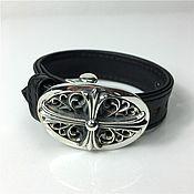Украшения handmade. Livemaster - original item Leather bracelet with silver buckle 925 in the form of a cross unisex. Handmade.