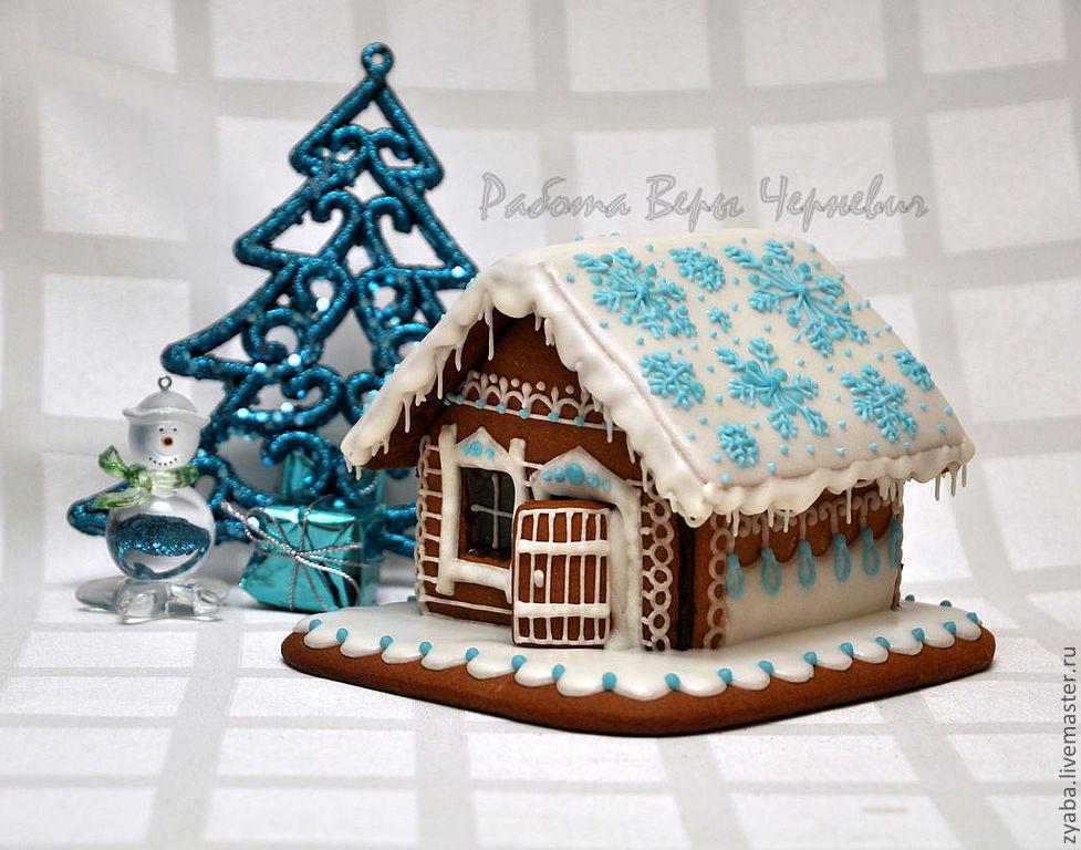 """Купить """"Снежинки"""" пряничный домик - оригинальный подарок на Новый год - пряничный домик, пряник, расписные пряники"""