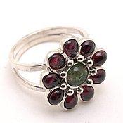Украшения handmade. Livemaster - original item Silver 925 ring with tourmaline and garnets gerbera. Handmade.