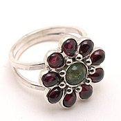 Украшения handmade. Livemaster - original item Silver ring with tourmaline and garnets gerbera. Handmade.