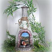 Для дома и интерьера ручной работы. Ярмарка Мастеров - ручная работа декоративная бутылка Окно в Италию. Handmade.