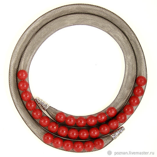 Mesh tube necklace with red coral, Necklace, Moscow,  Фото №1