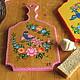 городецкая роспись, разделочная дощечка, подарок хозяйке, роспись по дереву, городецкие мотивы, сувенир, русский сувенир, русский стиль, доска на стену, доска кухонная в подарок, подарок, подарок
