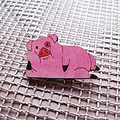 Украшения ручной работы. Ярмарка Мастеров - ручная работа Свин Пухля из Gravity Falls- брошь/магнит/кольцо/брелок. Handmade.