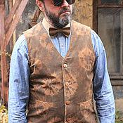Одежда ручной работы. Ярмарка Мастеров - ручная работа Old`n`Gold 01 мужской жилет из замши. Handmade.