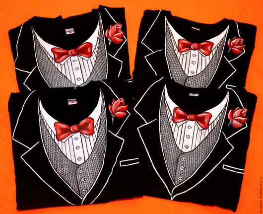 """Футболки, майки ручной работы. Ярмарка Мастеров - ручная работа. Купить Футболки  """"Настоящий джентльмен"""". Handmade. Чёрно-белый, костюм"""