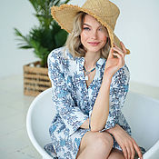 Одежда handmade. Livemaster - original item White Cotton Tunic Blooming, Summer dress Blue and White Beach. Handmade.