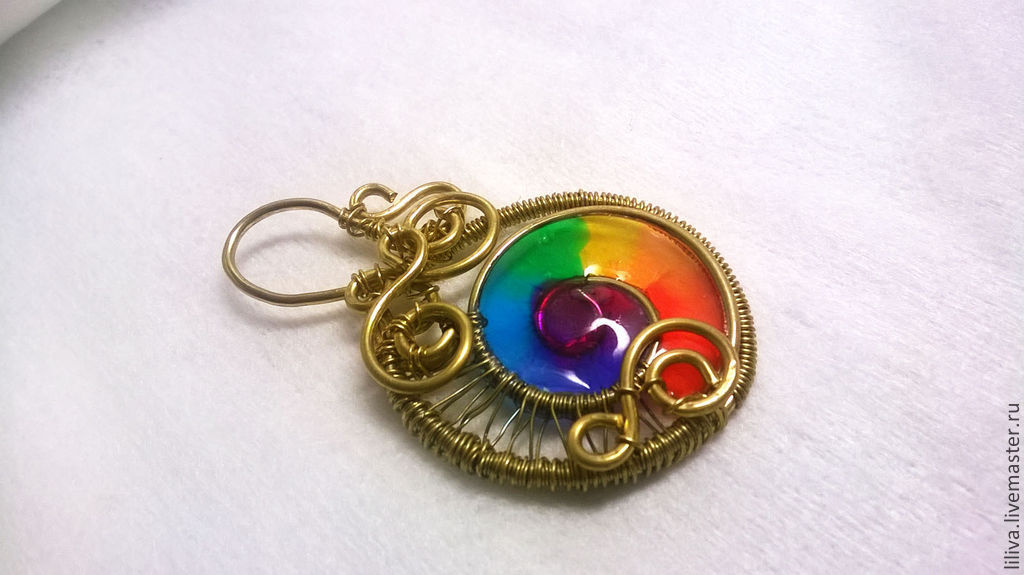 "Pendants handmade. Livemaster - handmade. Buy Brass wire wrap pendant ""Rainbow"".Wire wrapped, perfect gift"