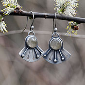 Украшения handmade. Livemaster - original item Dandelion earrings (925 silver, rutile quartz). Handmade.
