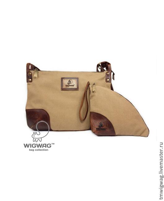 Женские сумки ручной работы. Ярмарка Мастеров - ручная работа. Купить Небольшая женская сумка бежевого цвета с клатчем в комплекте. Handmade.