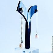 Украшения ручной работы. Ярмарка Мастеров - ручная работа Серьги с жемчугом натуральным 8,0мм белого цвета на серебре 925. Handmade.