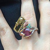 Кольца ручной работы. Ярмарка Мастеров - ручная работа Необычное, шикарное кольцо с крупным рубином и лимонным кварцем. Handmade.
