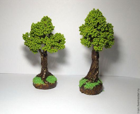 Деревья ручной работы. Ярмарка Мастеров - ручная работа. Купить Дубы-колдуны миниатюрные деревья из бисера. Handmade. Оливковый