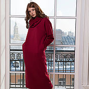 Dresses handmade. Livemaster - original item Warm dress with removable collar (Bordeaux). Handmade.