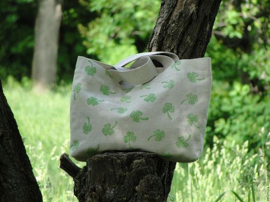 """Женские сумки ручной работы. Ярмарка Мастеров - ручная работа. Купить Льняная сумка """"Удача"""". Handmade. Зеленый, льняная сумка"""