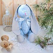 Куклы и игрушки ручной работы. Ярмарка Мастеров - ручная работа Зайка голубой серые ушки. Handmade.
