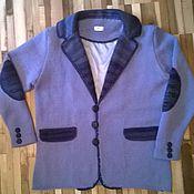Одежда ручной работы. Ярмарка Мастеров - ручная работа Пиджак мужскйо вязанный синие небеса. Handmade.