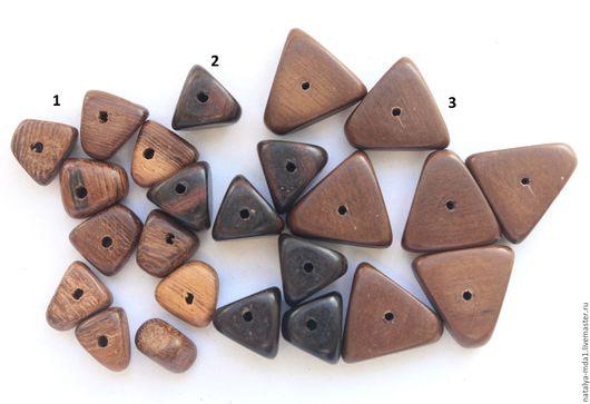 Для украшений ручной работы. Ярмарка Мастеров - ручная работа. Купить Бусины-треугольники из дерева. Handmade. Коричневый, эбен, для бижутерии