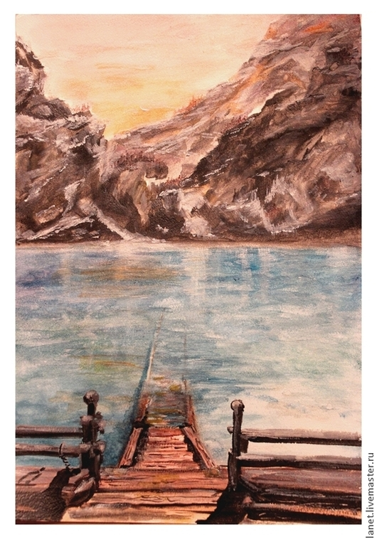 """Пейзаж ручной работы. Ярмарка Мастеров - ручная работа. Купить Постер рисунка """"Мостки"""" на фотохолсте. Handmade. Вода, мостки"""