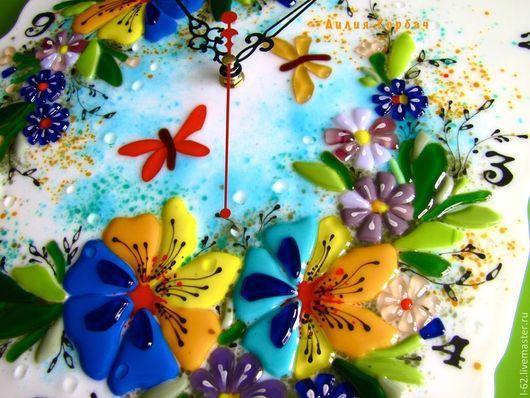 Часы для дома ручной работы. Ярмарка Мастеров - ручная работа. Купить фьюзинг, часы из стекла  Анютка. Handmade. Лилия Горбач