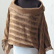 Одежда handmade. Livemaster - original item Top tunic linen brown knit with lace. Handmade.