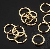 Материалы для творчества handmade. Livemaster - original item 10 PCs. Connecting jump rings 7mm gold plated South Korea (art. 2095). Handmade.