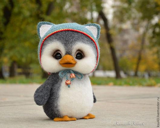 Игрушки животные, ручной работы. Ярмарка Мастеров - ручная работа. Купить Пингвин Тимошка. Handmade. Темно-серый, игрушка из шерсти