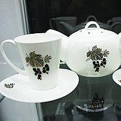 Посуда ручной работы. Ярмарка Мастеров - ручная работа Чёрная смородина, набор чайник и чашки Swarovski crystals. Handmade.