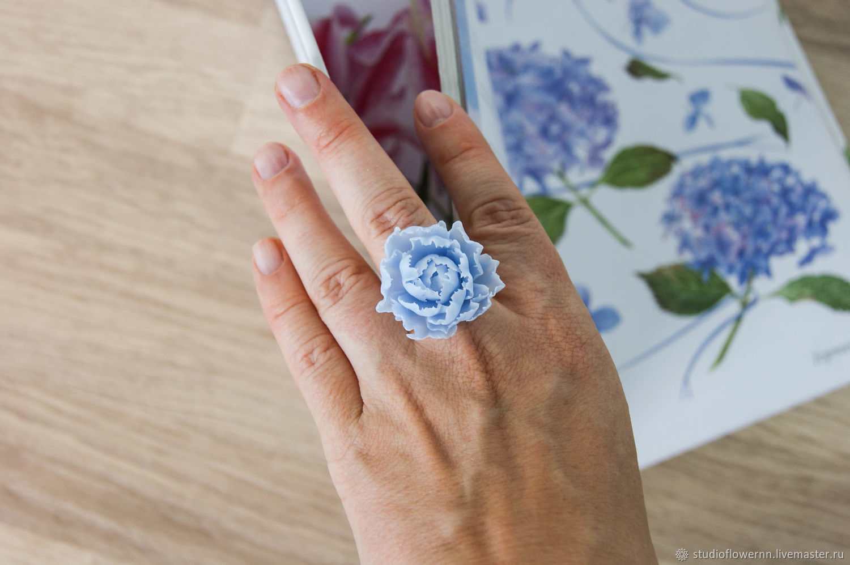 Blue peony ring, polymer clay, sky blue, Rings, Nizhny Novgorod,  Фото №1