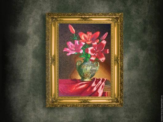 """Натюрморт ручной работы. Ярмарка Мастеров - ручная работа. Купить Картина-вышивка """"Лилии"""". Handmade. Картина для интерьера, сюрприз, натюрморт"""