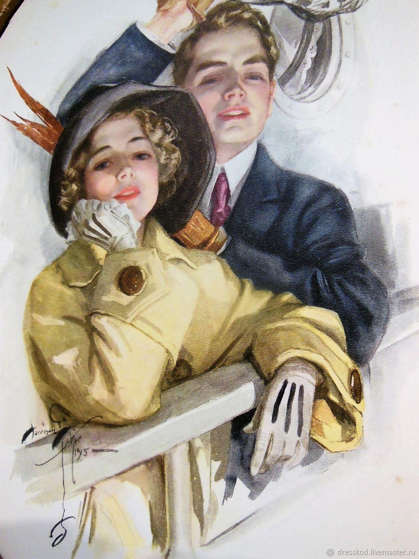 Винтажная посуда. Ярмарка Мастеров - ручная работа. Купить Винтаж: Старинная литография 1915 год. Handmade. Ретро, комбинированный, картина в гостиную