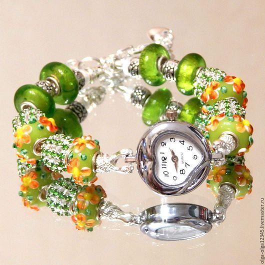 """Часы ручной работы. Ярмарка Мастеров - ручная работа. Купить Часы  """"Green"""". Handmade. Салатовый, часы с браслетом, пандора"""