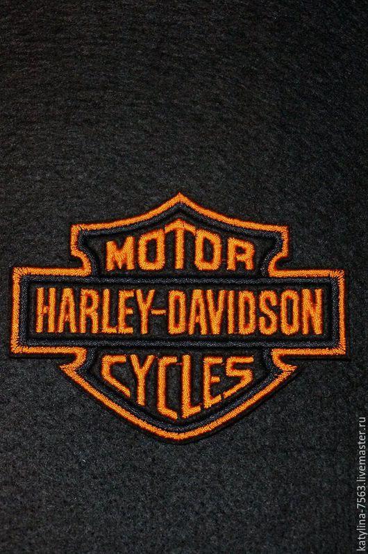 """Вышивка ручной работы. Ярмарка Мастеров - ручная работа. Купить Нашивка """"HARLEY-DAVIDSON"""". Handmade. Комбинированный, нашивка, нашивка вышитая"""
