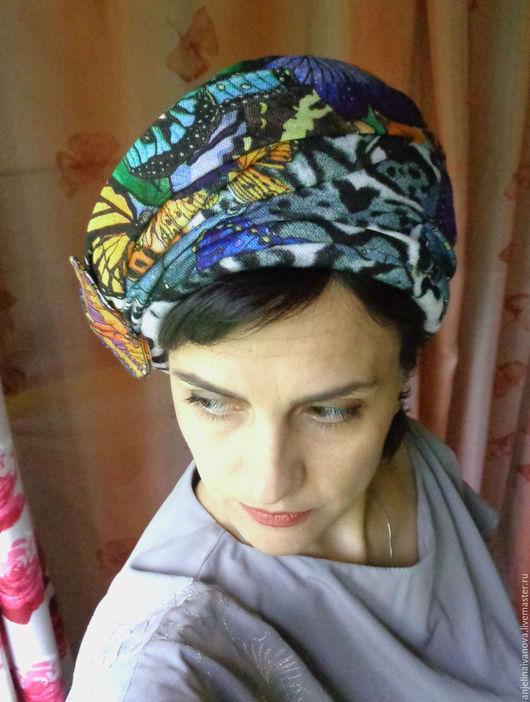 Шляпы ручной работы. Ярмарка Мастеров - ручная работа. Купить Butterfly 20; шляпка чалма тюрбан. Handmade. Комбинированный, раухтопаз