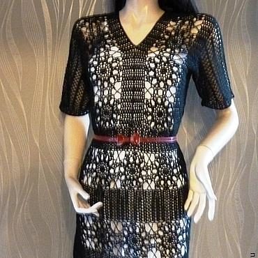 Одежда ручной работы. Ярмарка Мастеров - ручная работа Черное вязаное платье ажур крючком. Handmade.
